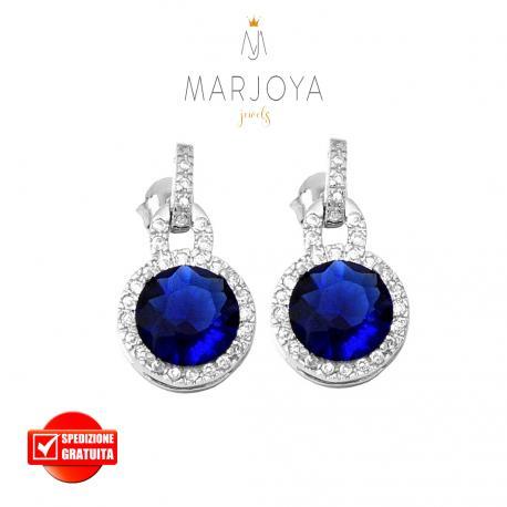 Orecchini pendenti in argento 925 rodiato con zirconi bianchi e blu