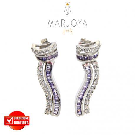 Orecchini in argento 925 rodiato con zirconi bianchi e viola