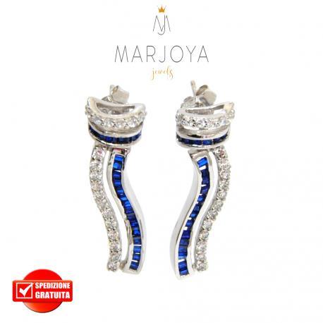 Orecchini in argento 925 rodiato con zirconi bianchi e blu
