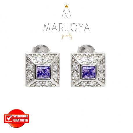 Orecchini a lobo quadrati con zirconi bianchi e viola in argento 925