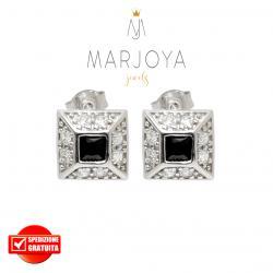Orecchini a lobo quadrati con zirconi bianchi e neri in argento 925