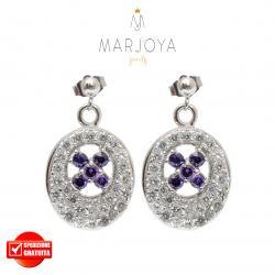 Orecchini in argento 925 con pavè di zirconi bianchi e fiori viola