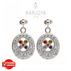 Orecchini in argento 925 con pavè di zirconi bianchi e fiori multicolor