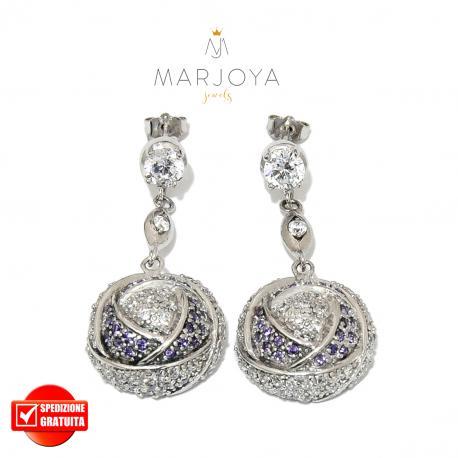 Orecchini pendenti in argento 925 con zirconi bianchi e viola