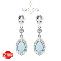 Orecchini a goccia pendenti in argento 925 con zirconi bianchi e azzurri
