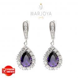 Orecchini a goccia pendenti in argento 925 con zirconi bianchi e viola