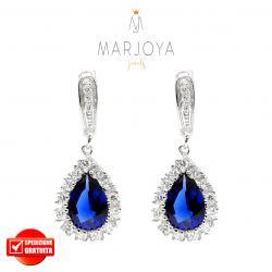 Orecchini a goccia pendenti in argento 925 con zirconi bianchi e blu