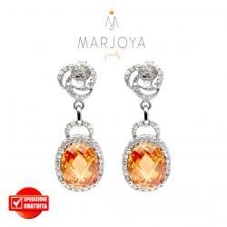 Orecchini pendenti in argento 925 con zirconi bianchi e arancio