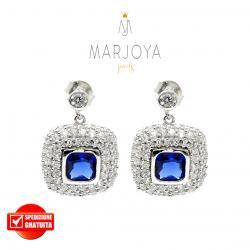 Orecchini pendenti quadrati con pavè di zirconi bianchi e blu in argento 925