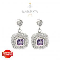 Orecchini pendenti quadrati con pavè di zirconi bianchi e viola in argento 925