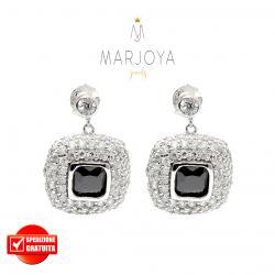 Orecchini pendenti quadrati con pavè di zirconi bianchi e neri in argento 925