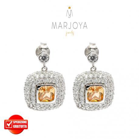 Orecchini pendenti quadrati con pavè di zirconi bianchi e arancio in argento 925