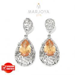 Orecchini pendoli in argento 925 con zirconi bianchi e arancio