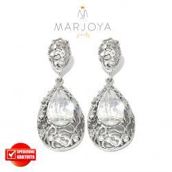 Orecchini pendoli in argento 925 con zirconi bianchi