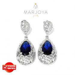 Orecchini pendoli in argento 925 con zirconi bianchi e blu