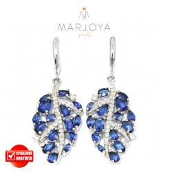 Orecchini pendenti a foglie in argento 925 con zirconi bianchi e blu