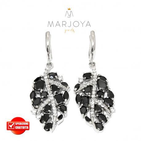 Orecchini pendenti a foglie in argento 925 con zirconi bianchi e neri