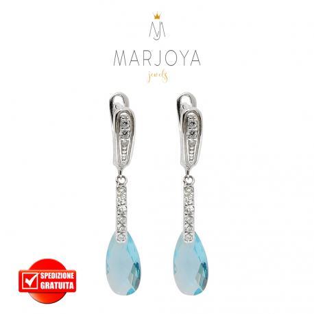 Orecchini pendenti con zirconi bianchi e goccia azzurra in argento 925