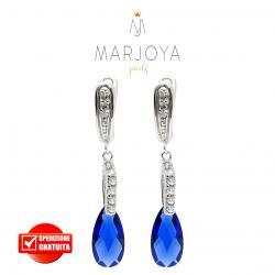 Orecchini pendenti con zirconi bianchi e goccia blu in argento 925