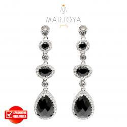 Orecchini pendenti in argento 925 con zirconi bianchi e neri, goccia