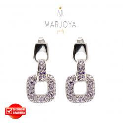 Orecchini quadrati pendenti con pavè di zirconi viola in argento 925