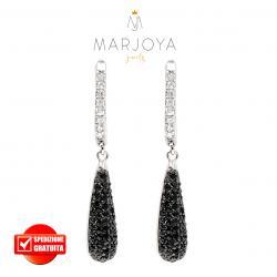 Orecchini pendenti a goccia con pavè di zirconi bianchi e neri in argento 925