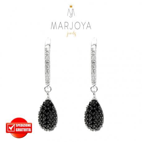 Orecchini pendenti con goccia e pavè di zirconi bianchi e neri in argento 925