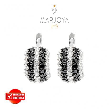 Orecchini mezza luna con pavè di zirconi bianchi e neri in argento 925