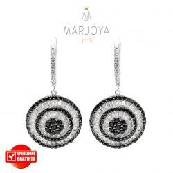 Orecchini pendenti con dischi e pavè di zirconi bianchi e neri in argento 925