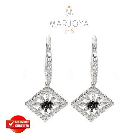 Orecchini pendenti in argento 925 con zirconi bianchi e neri, sole