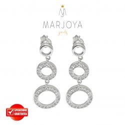 Orecchini pendenti con cerchi di zirconi bianchi in argento 925