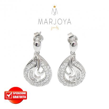 Orecchini pendenti a goccia con pavè di zirconi bianchi in argento 925