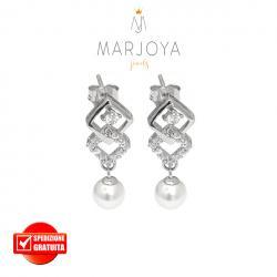 Orecchini pendenti con perline e zirconi bianchi in argento 925