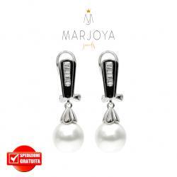 Orecchini con perline e zirconi bianchi in argento 925 rodiato