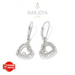 Orecchini con cuore pendente e zirconi bianchi in argento 925