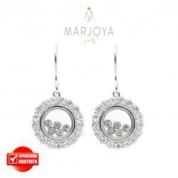 Orecchini tondi pendenti con pavè di zirconi bianchi in argento 925