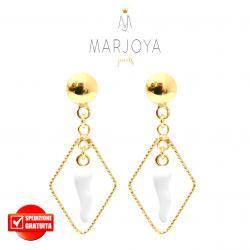 Orecchini con cornetto bianco pendente in argento 925 dorato