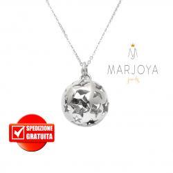 Chiama angeli in argento 925 con sfera traforata stelle, collana 90 cm