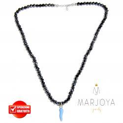 Collana girocollo corto con swarovski neri e cornetto azzurro in argento 925