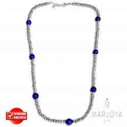 Collana girocollo corto con ematite e quarzo blu in argento 925