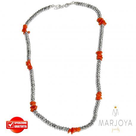 Collana girocollo corto con ematite e corallo in argento 925