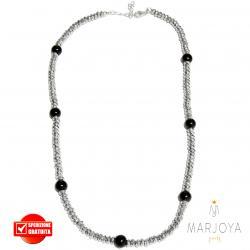 Collana girocollo corto con ematite e onice nero in argento 925