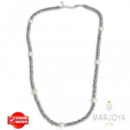 Collana girocollo corto con ematite e perle in argento 925