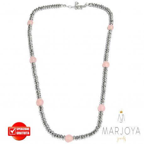 Collana girocollo corto con ematite e quarzo rosa in argento 925
