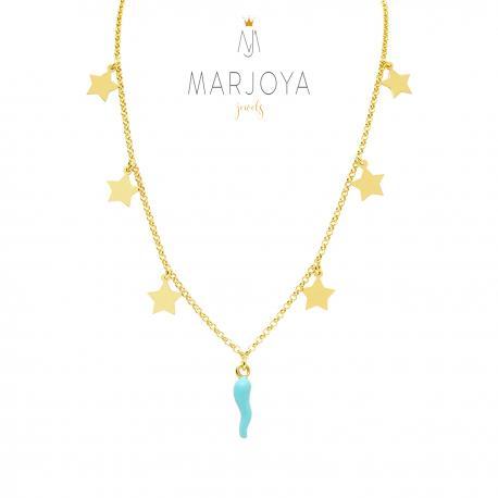 Collana con stelle e cornetto smaltato verde acqua in argento 925 dorato