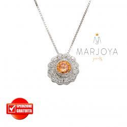 Collana punto luce in argento 925 con pavè di zirconi bianchi e arancio