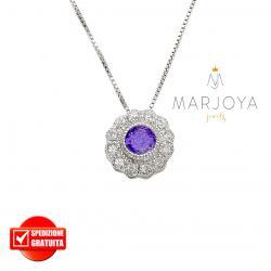 Collana punto luce in argento 925 con pavè di zirconi bianchi e viola