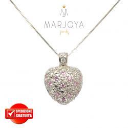 Collana donna con cuore in argento 925,zirconi rosa e borchie