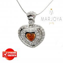 Collana con cuore in argento 925 con pavè di zirconi bianchi e arancio