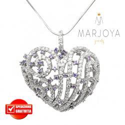 Collana con cuore traforato in argento 925 e pavè di zirconi bianchi e viola